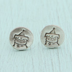 pug birthday hat earrings