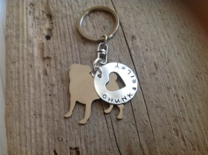 personalized pug keychain