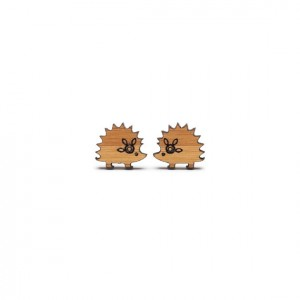 bamboo hedgehog earrings
