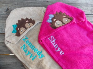 personalized hooded hedgehog towels