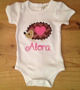 Personalized hedgehog onesie or shirt