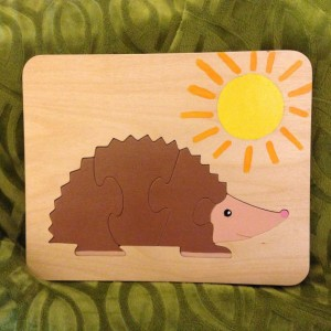 handmade wooden hedgehog puzzle