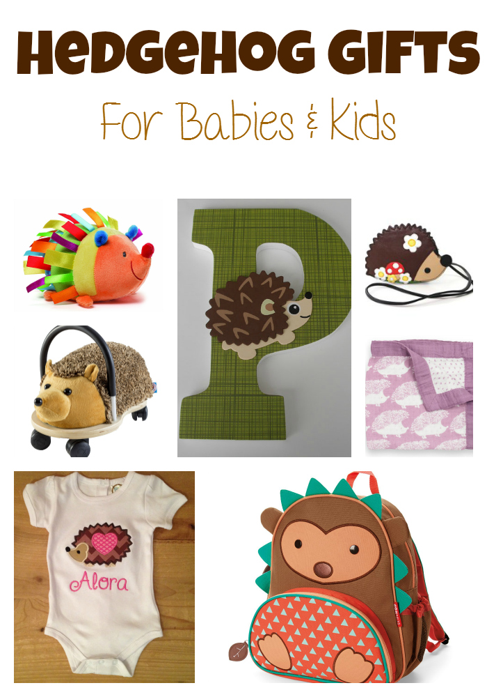Hedgehog gift guide for kids who like hedgehogs or baby shower gifts for a woodland nursery theme