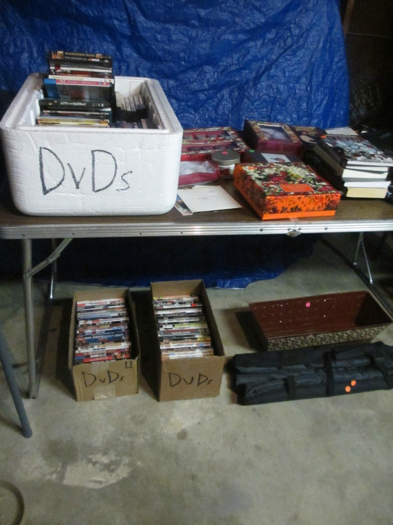 Garage sale DVD organization